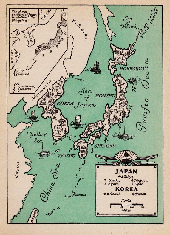 Pictorial Vintage JAPAN Map of Japan Print Korea Map 1940s ...