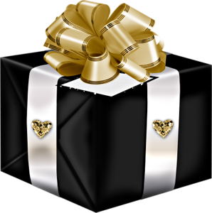 Black Present With Gold Bow Whimsical 3 Presents Gifts