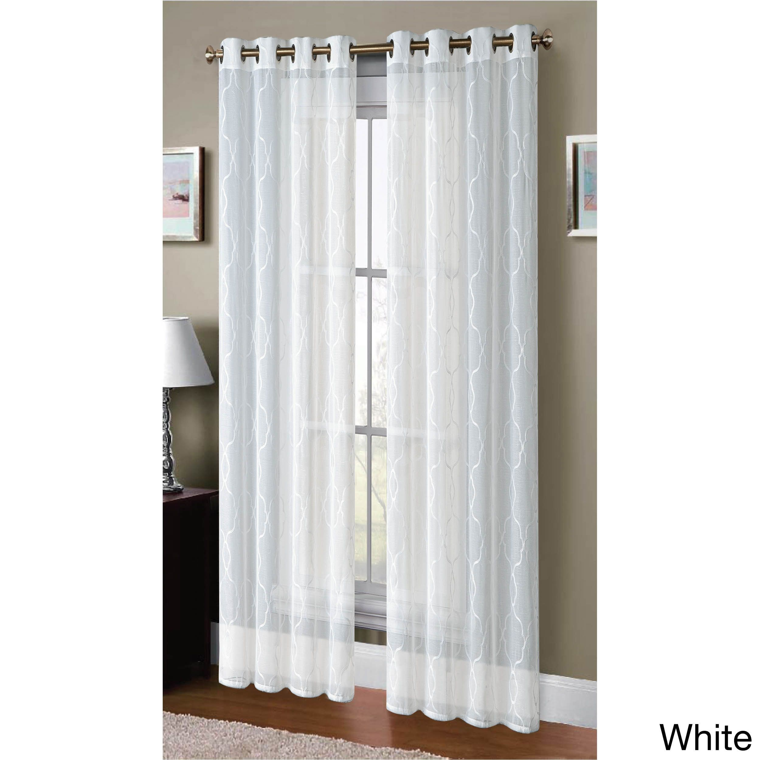 Window Elements Boho Embroidered Faux Linen Sheer 96 Inch Extra Wide Grommet Curtain Panel Pair Taupe Grommet Curtains Sheer Linen Curtains Panel Curtains