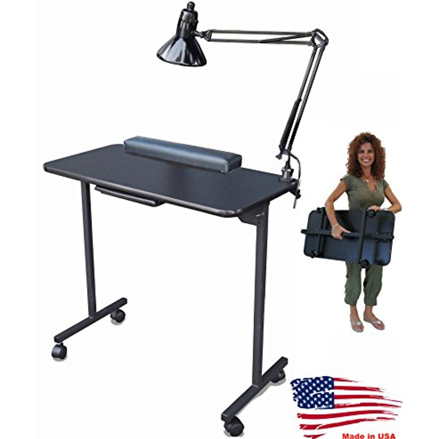 310DLX Foldable Portable Nail Manicure Table Black Top by Dina Meri ...