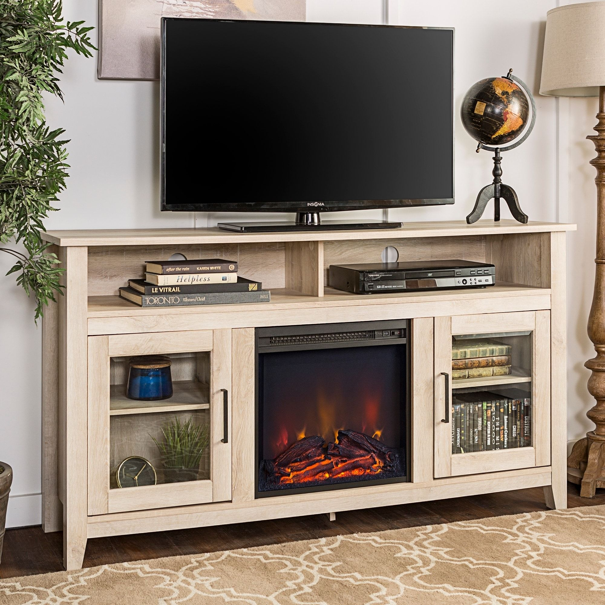 58 Inch Highboy 2 Door Fireplace Tv Stand Console Electric Fireplace Tv Stand Fireplace Tv Stand Highboy Tv Stand