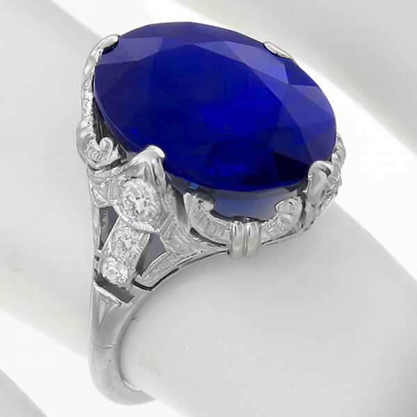 sapphire diamond platinum ring 1