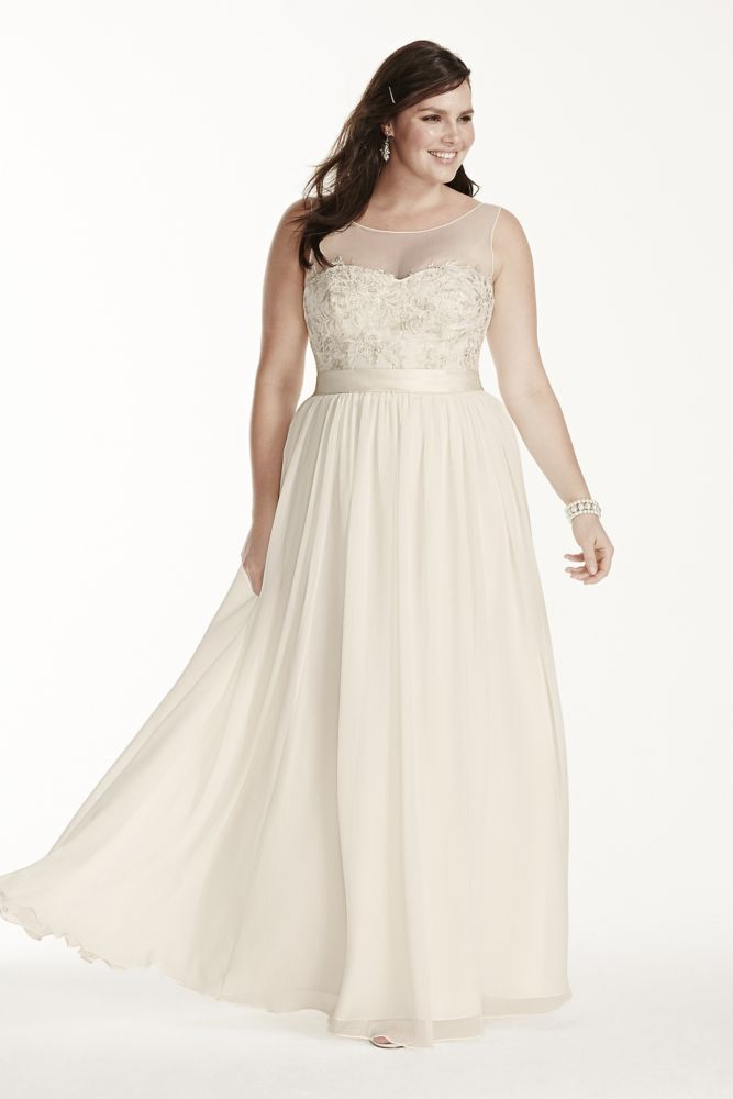 Illusion Tank Plus Size Wedding Dress with Lace - Ivory, 20W ...
