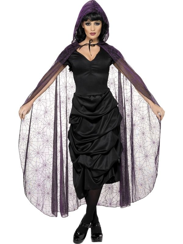 Sheer Embossed Spider Web Cape Cloak with Hood Black Silver Adult Costume