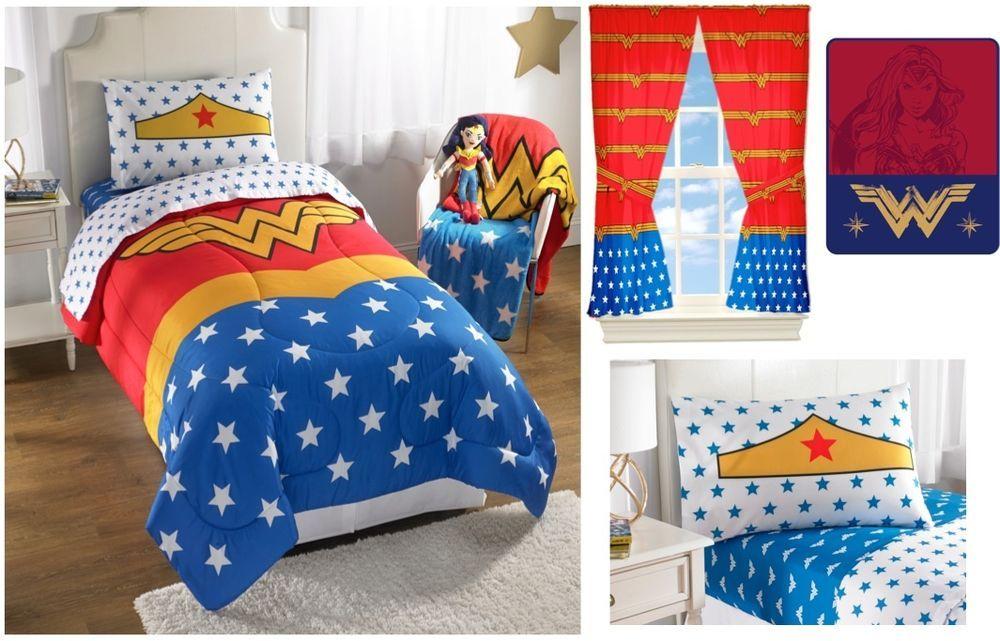 new kids girls wwf wonder woman bedding bed in a bag / comforter set