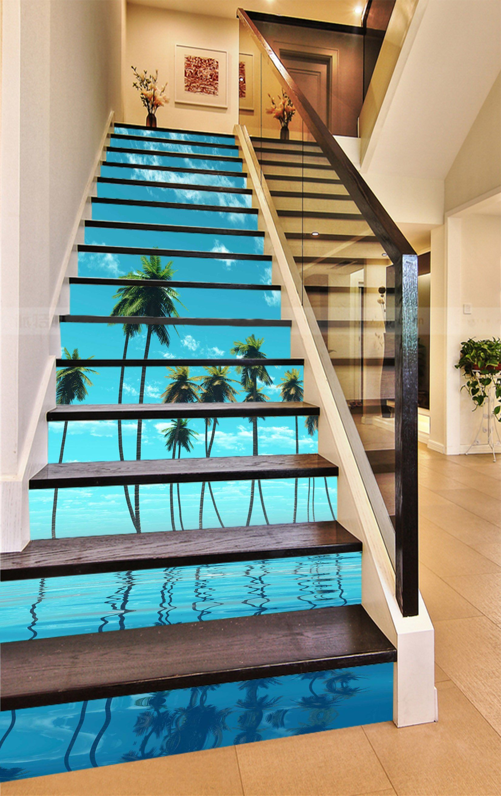 Best 3D Seaside Coconut Trees 846 Stair Risers Home Stairs 400 x 300