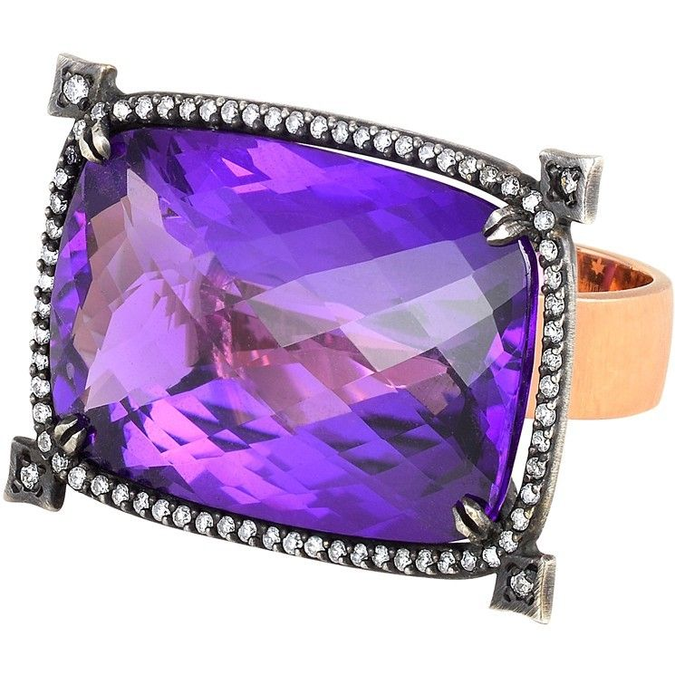 Parulina -  Rose Gold and Silver Ring with Amethyst and white Diamonds. Photo courtesy press office