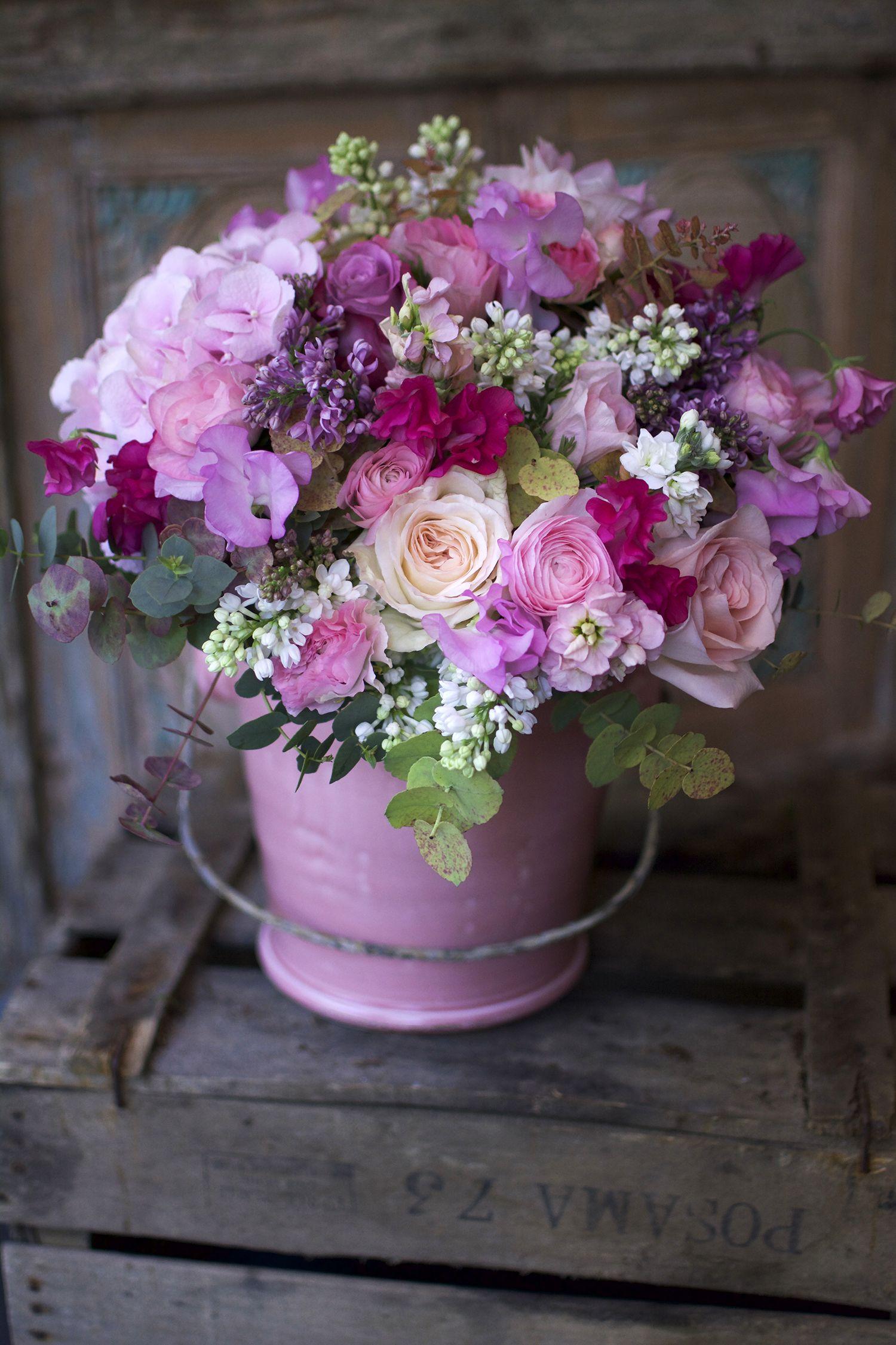 Superbe Belle Harmonie De Couleurs Dans Les Camaïeux Rose Parme Violet 1 Très Beau Bouquet