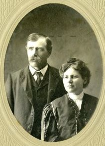 "James ""Albert"" Quiner (b. 1865) and his wife.  Albert was Laura's double 1st cousin, the son of Henry Quiner and Polly Ingalls Quiner."