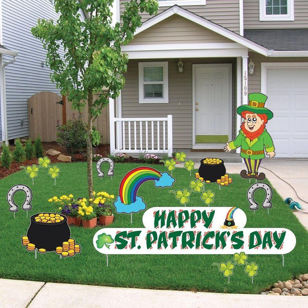 St. Patrick\'s Day Irish Shamrock Clover Leprechaun Pot Of Gold Yard ...