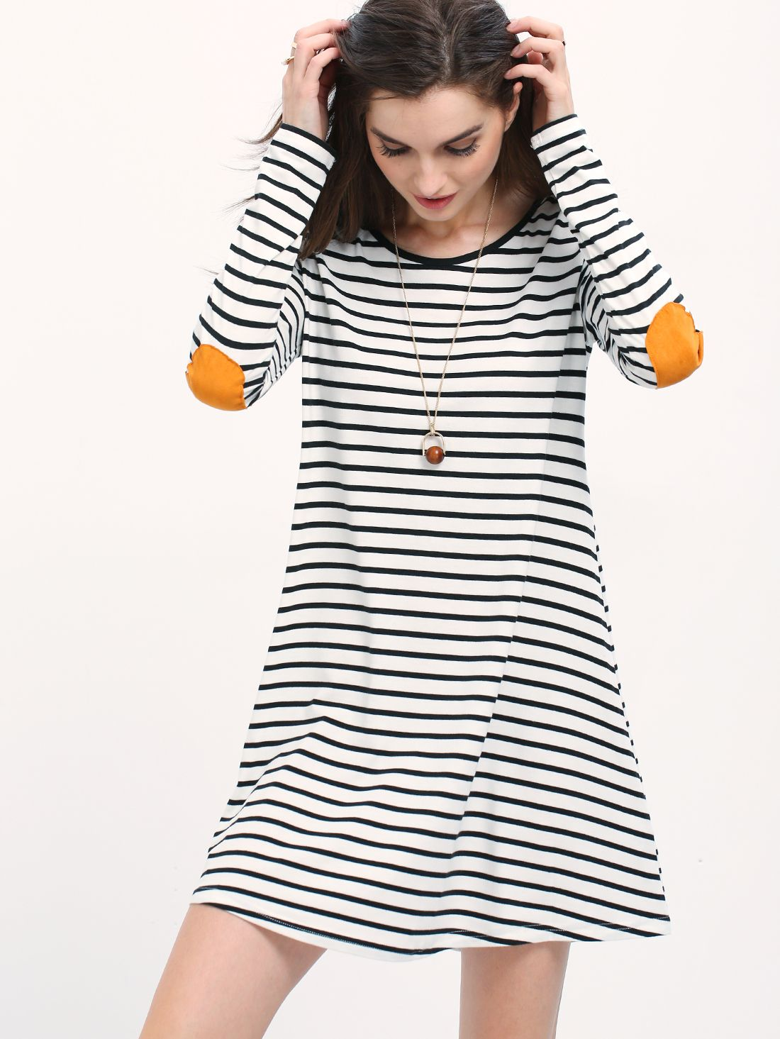 Online shopping for white striped elbow patch tshirt dress from a