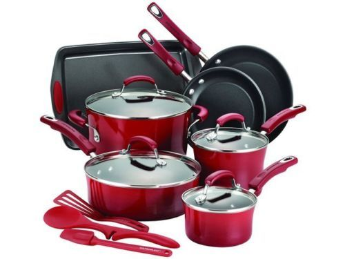 Shop Rachael-Ray-Hard-Enamel-Nonstick-14-Piece-Cookware-Set-in-Red