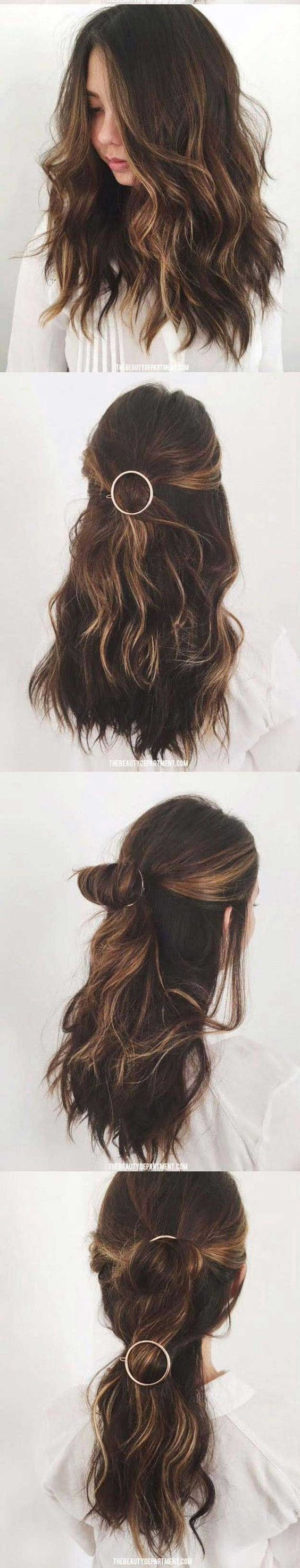 Amazing half uphalf down hairstyles for long hair circle barrette