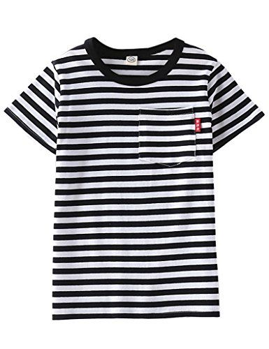 CHILDREN KIDS RED BLACK AND WHITE STRIPE T SHIRT BOYS GIRLS TEES T SHIRT
