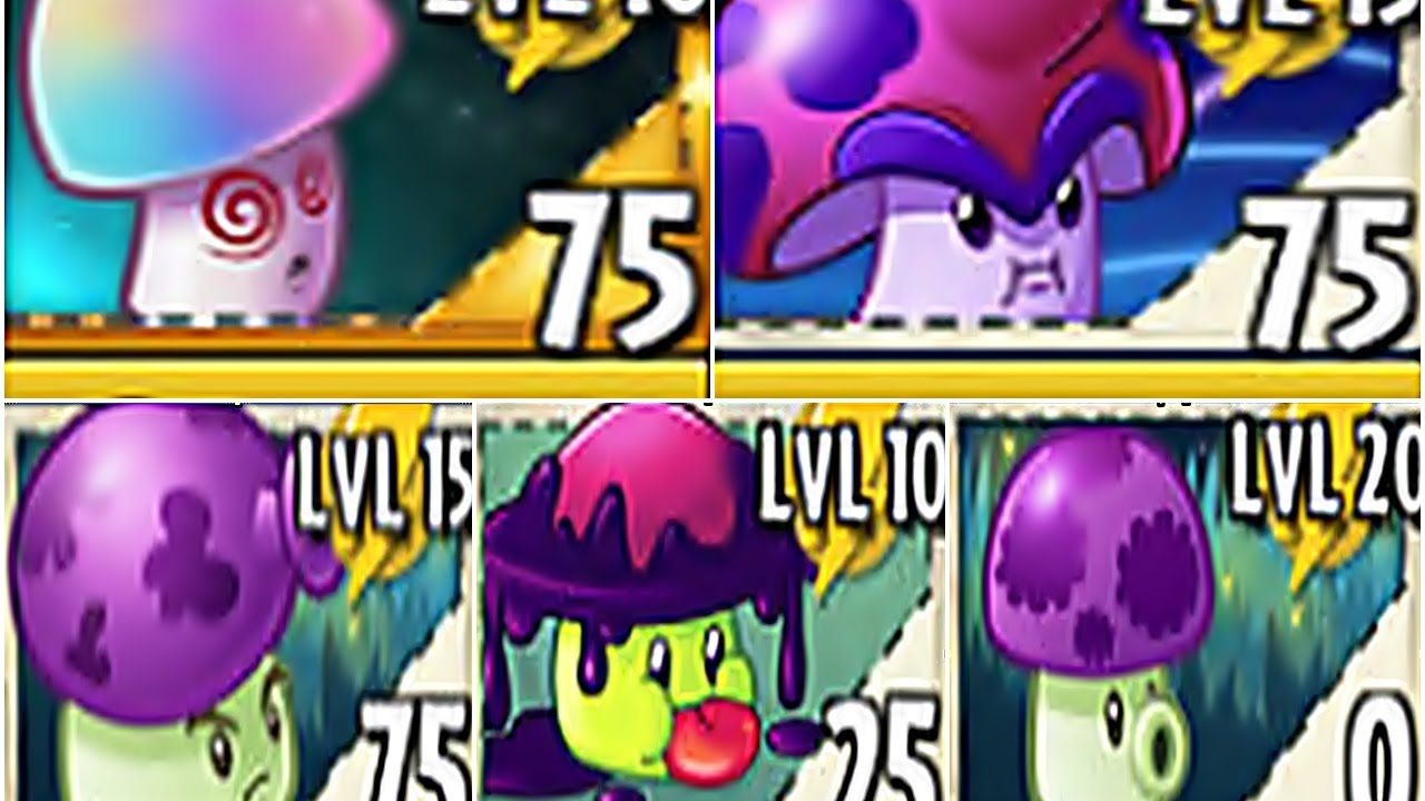All Shroom Plants Pvz 2 Max Level Up in Plants vs  Zombies 2