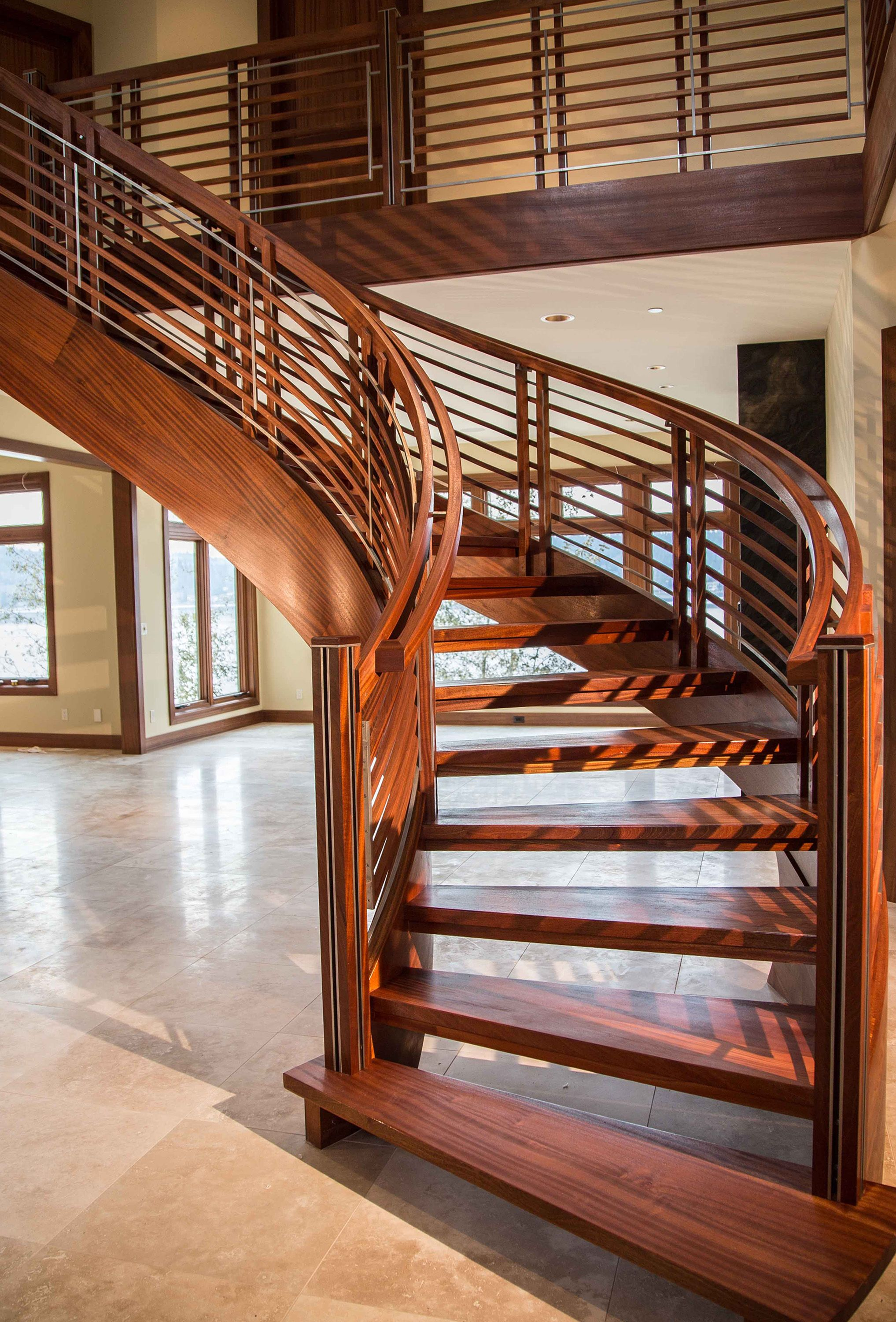 Modern Stair Design With Sapele And Inlayed Stainless Steel