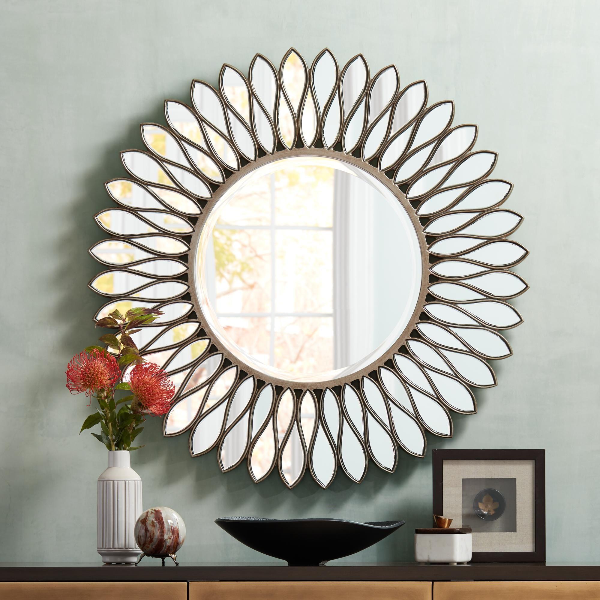 Helios Warm Silver 36 Inch Round Sunburst Wall Mirror Mirror