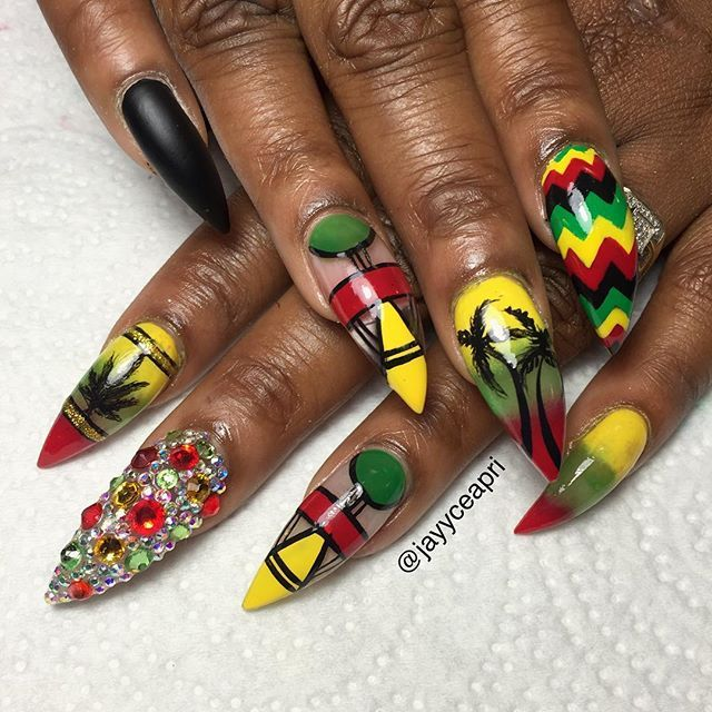 Red Black Green Yellow Blackgirlsdonails Blackgirlnails Green Nail Designs Yellow Nails Design Green Nail Art