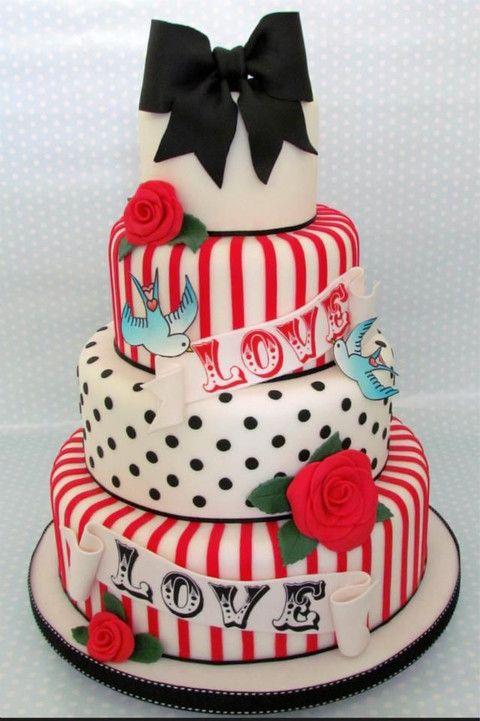 Fun And Colorful Rockabilly Wedding Cakes HappyWeddcom - Rockabilly birthday cake