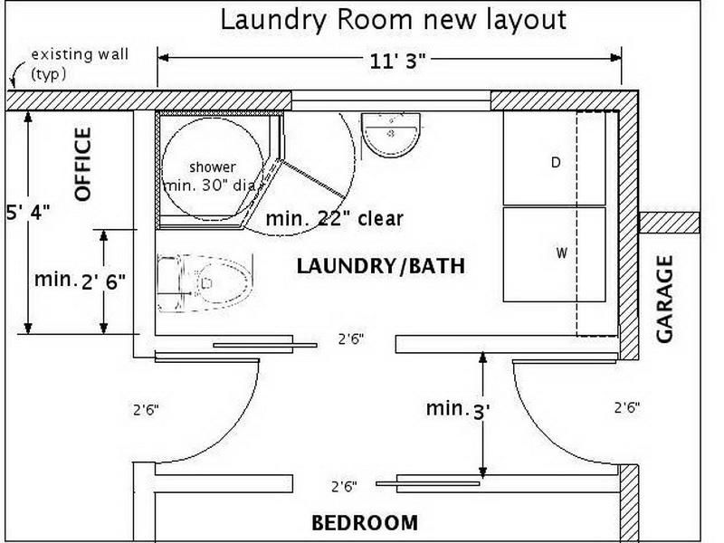Basement bathroom maybe stack the washer dryer laundry for Laundry bathroom floor plans
