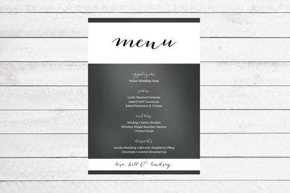Chalkboard Color Block Wedding Menu by WritefullySimple on Etsy, $30.00