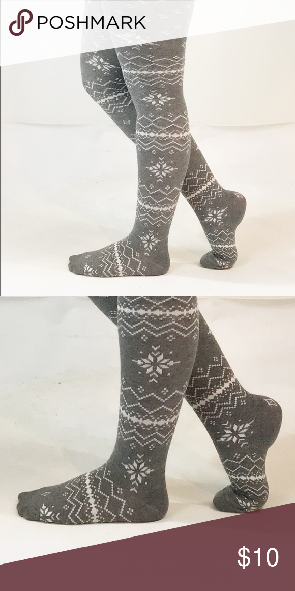 Charcoal Gray Fair Isle Sweater Tights Snowflake | Sweater tights ...