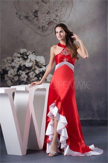 Robe de soirée rouge col montant décoration perlée corset arrière en satin de soie