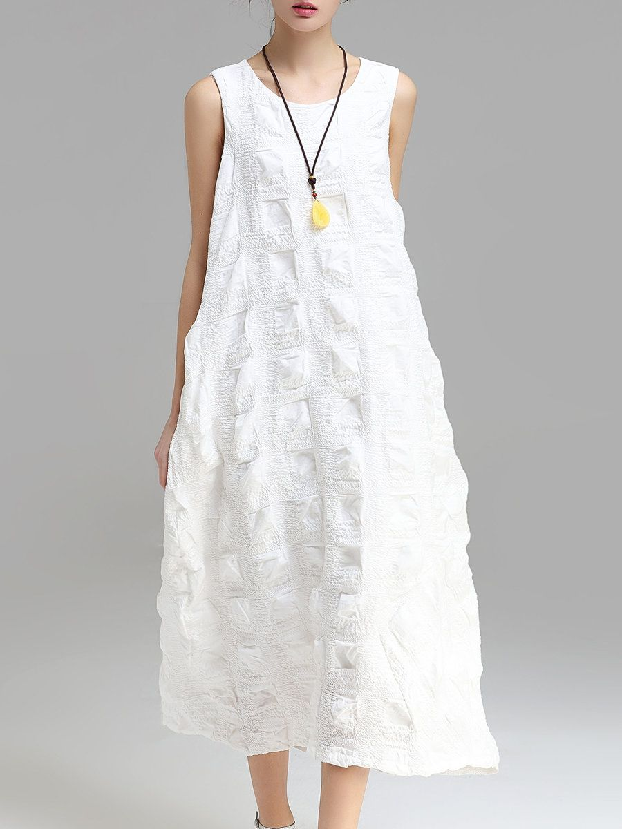 93f164a0fb12  AdoreWe  StyleWe Maxi Dresses - Designer Auchan-Ai White Cotton-blend  Cocoon Sleeveless Maxi Dress - AdoreWe.com