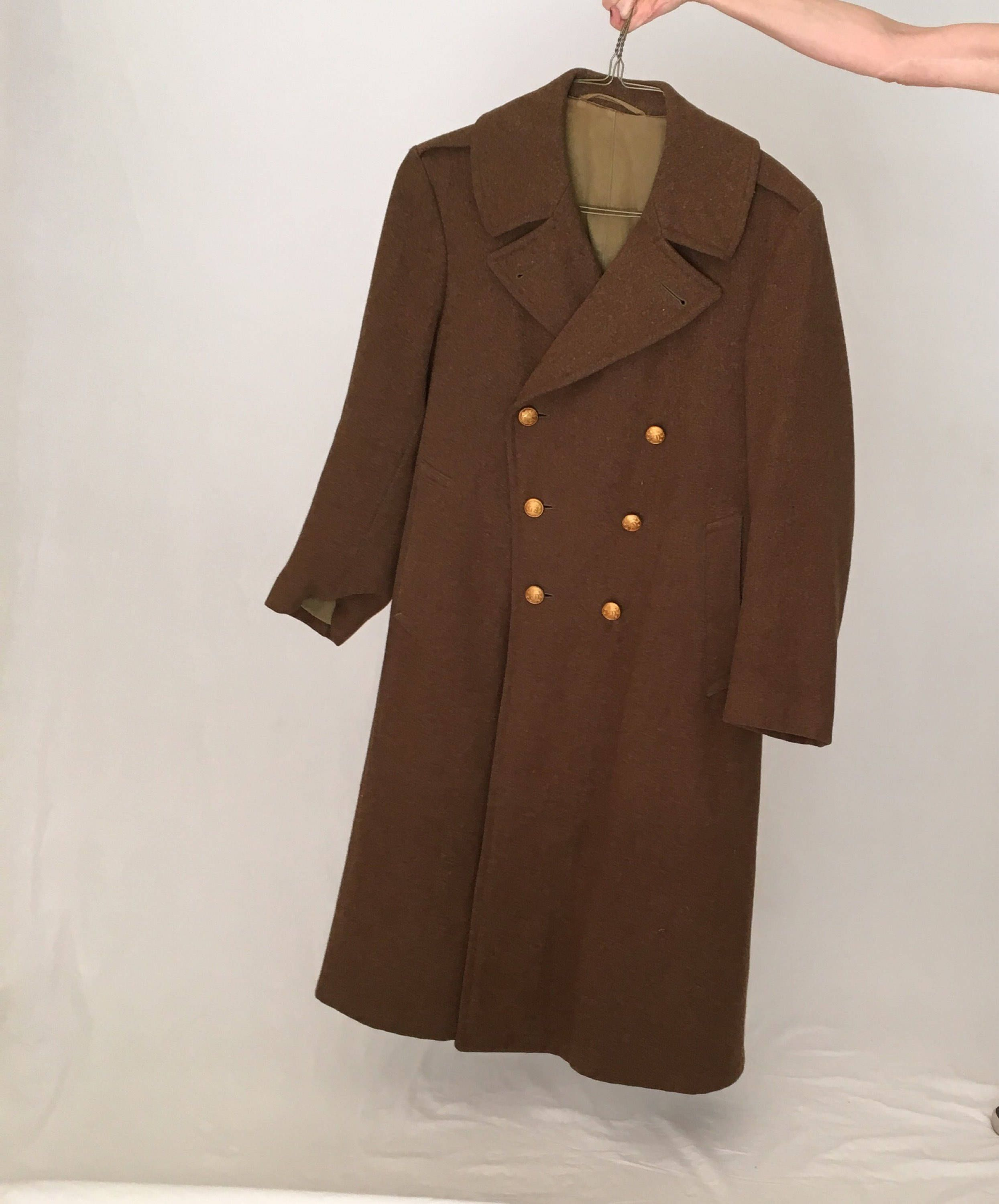 62f88ed9c582 Men Vintage wool coat 42 M L/brown Pea coat overcoat/50s 1950s 20s 1920s  30s 40s 1940s coat/long double breasted military army winter coat by ...