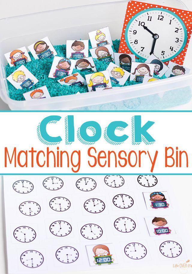 FREE Matching Clocks Sensory Bins Printables (Free Homeschool Deals ...