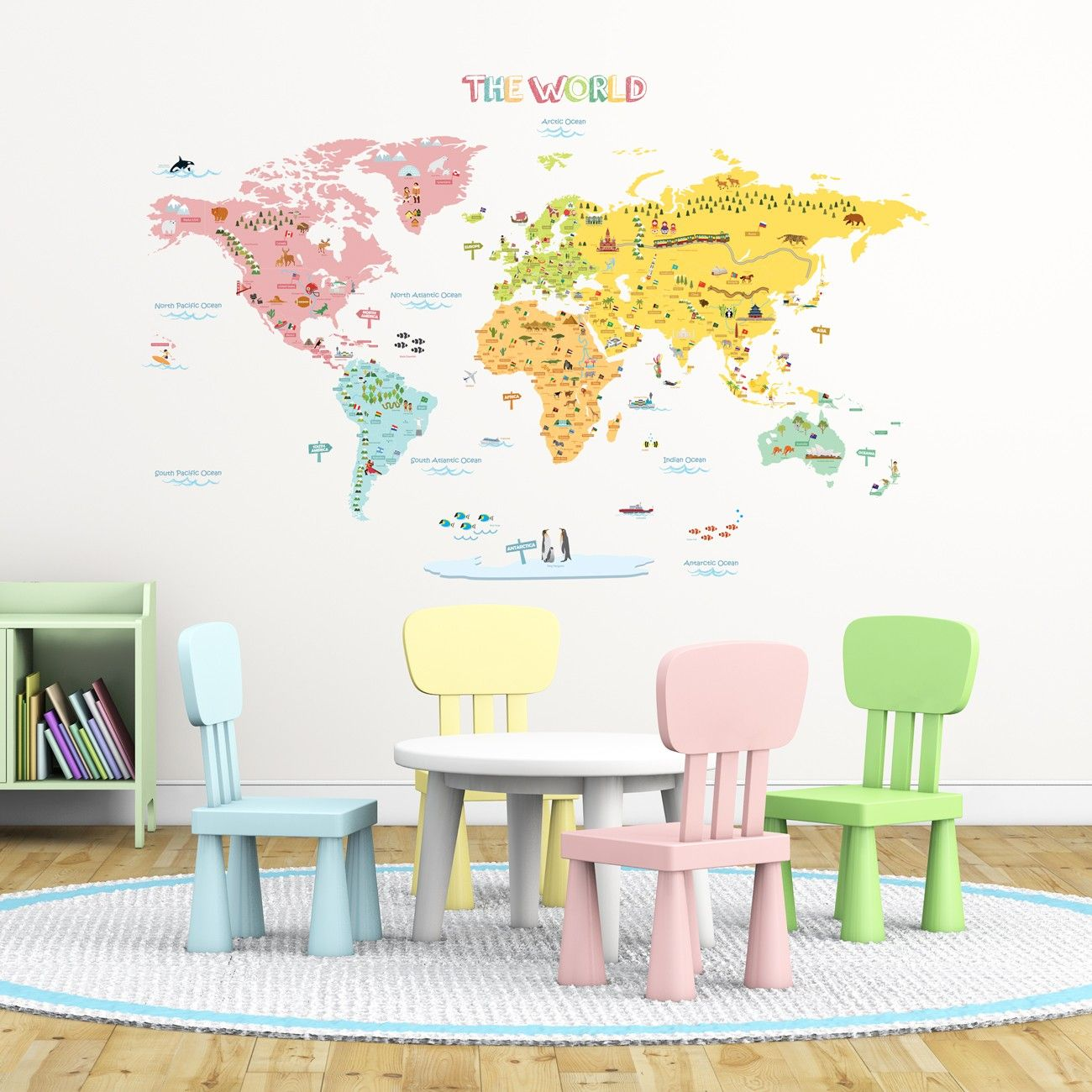 Colourful world map nursery kids wall stickers traffic wall world map peel stick wall decals stickers xlarge check out this great product gumiabroncs Images