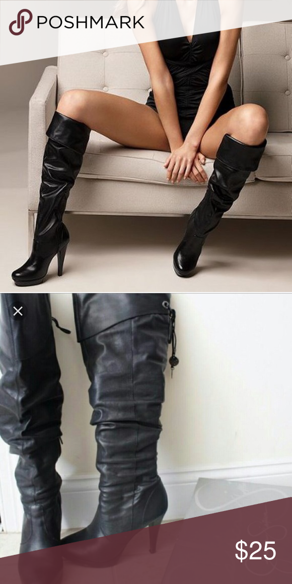 535b35ac7dd Jessica Simpson slouch boots Super cute black leather boots. Tassel ...