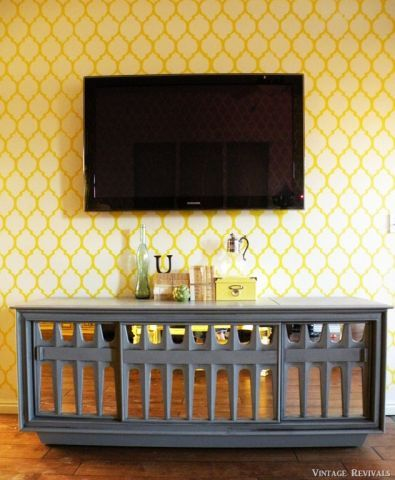 A happy ray of sunshine is how we would describe this Casablanca stenciled media wall by Vintage Revivals. How would you describe it?    Love it? Get it! http://www.cuttingedgestencils.com/allover-stencils.html      #cuttingedgestencils #stenciling #stencilpatterns #stencils