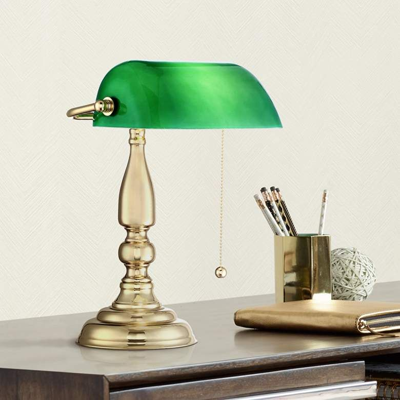 Hammond Green Glass Brass Bankers Table Lamp 23r12 Lamps Plus In 2020 Vintage Table Lamp Desk Lamp Design Table Lamp