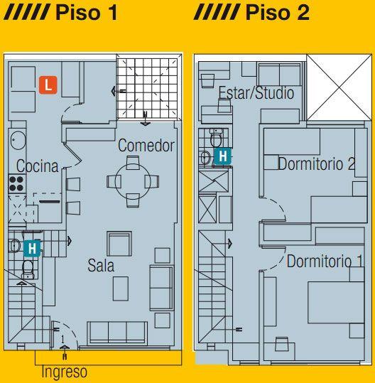 Planos de casa en 60m2 by for Casas en ele planos