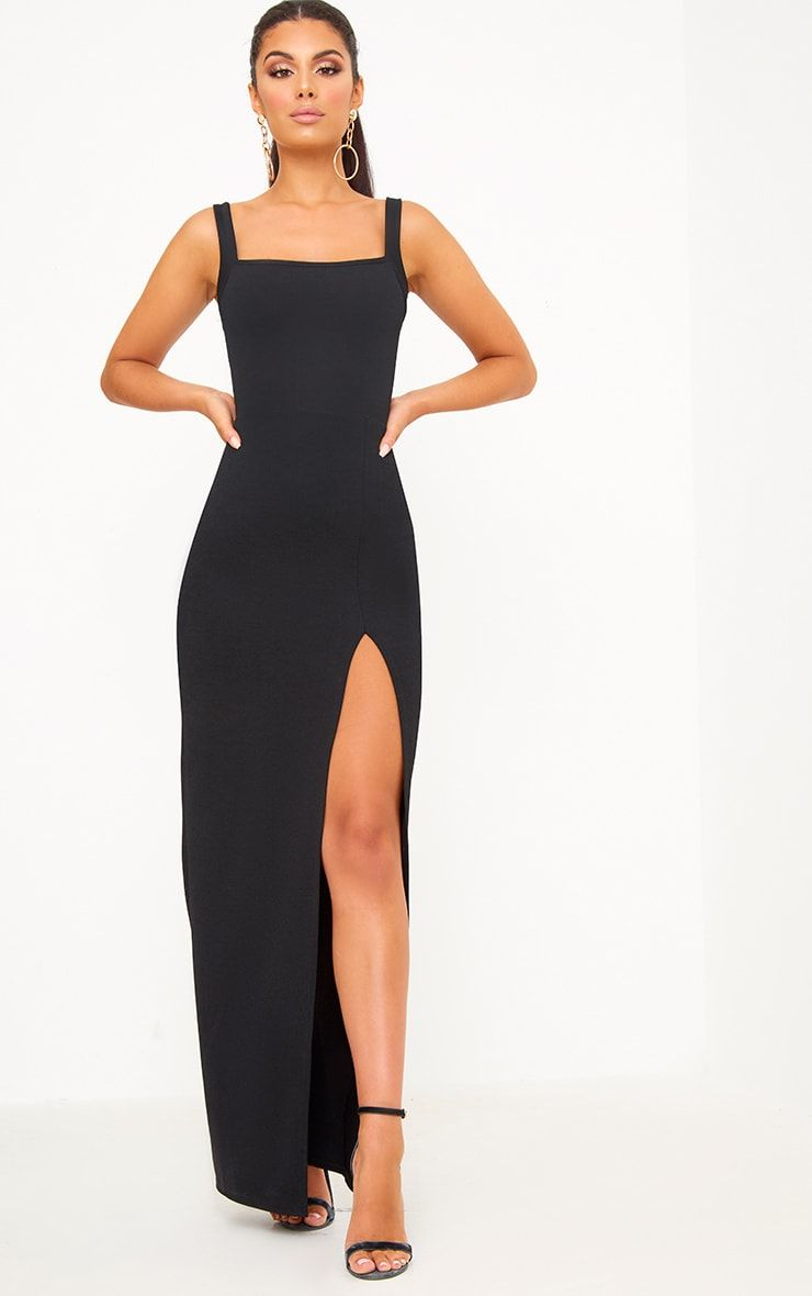 0a2192dcbb9b Black Straight Neck Maxi Dress. Shop Dresses now at PrettyLittleThing.com.  Express delivery available - Order now