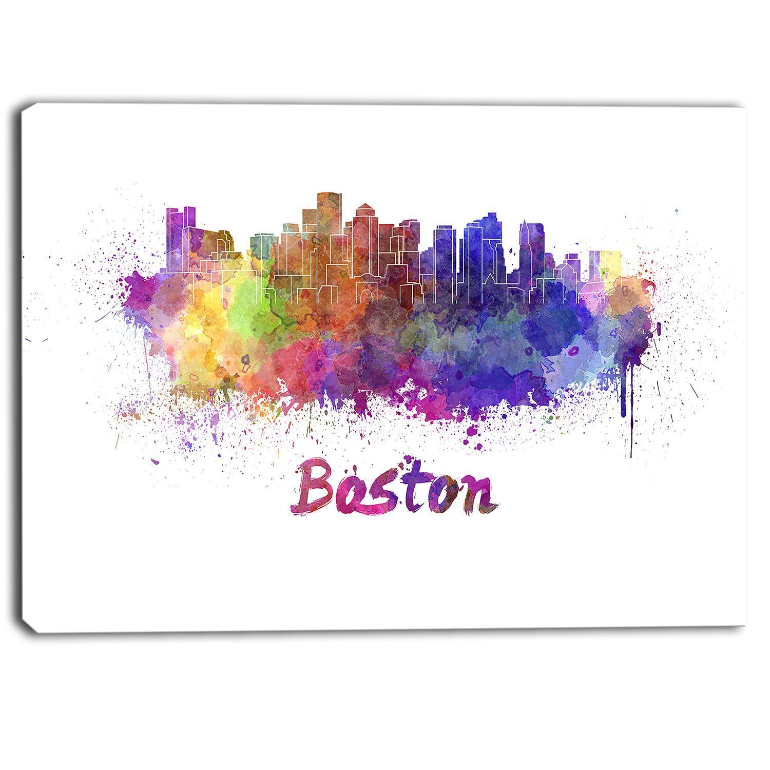 Boston Skyline Cityscape Graphic Art on Wrapped Canvas