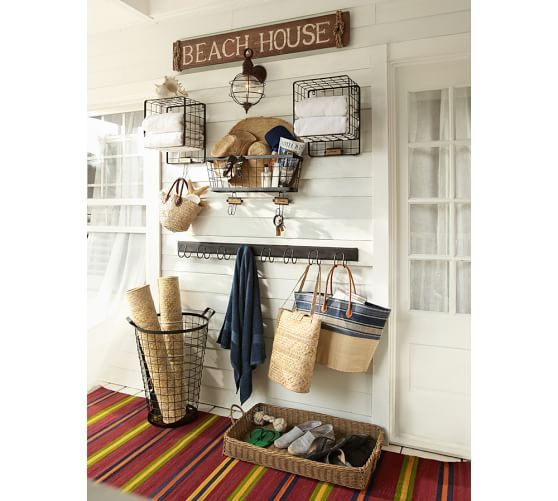 kellan wall mount row of hooks pottery barn for entryway beachy house decornautical - Home Decor Pottery Barn