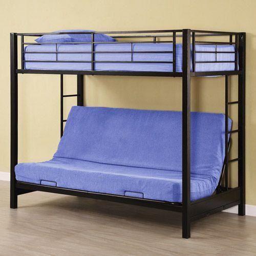Premium Twin Over Futon Metal Bunk Bed Black Walmart Com Black Bedding Metal Bunk Beds Black Bunk Beds