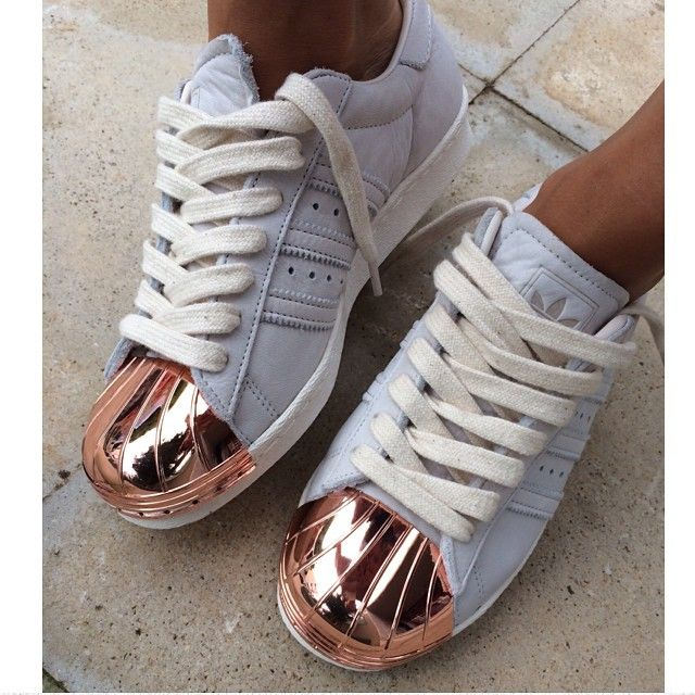 adidas superstars with rose gold metal cap | Adidas shoes