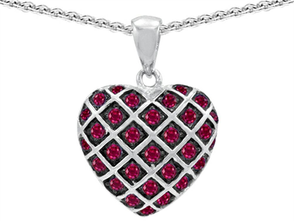 Star K Created Ruby Puffed Heart Pendant Necklace