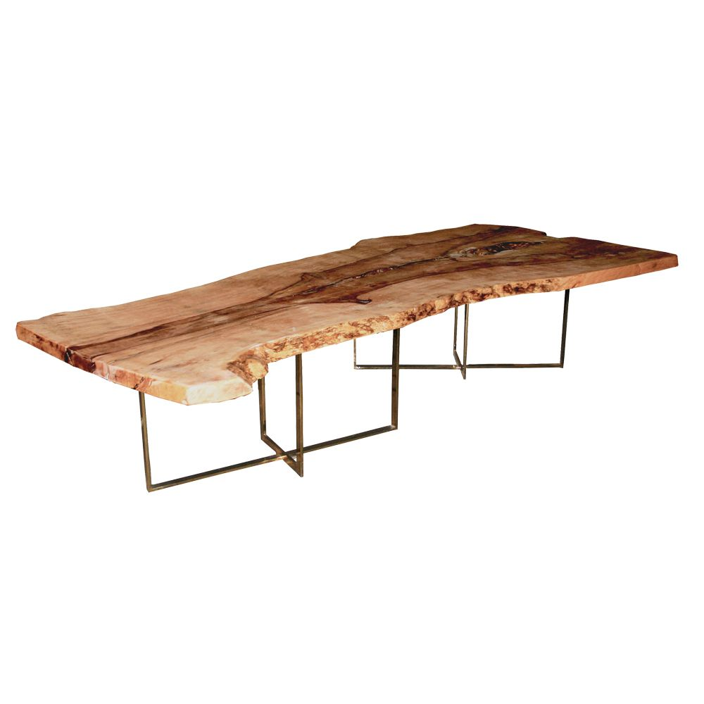 Clayton Oxford   Natural Slice Mango Wood Slab Table With Brass Base