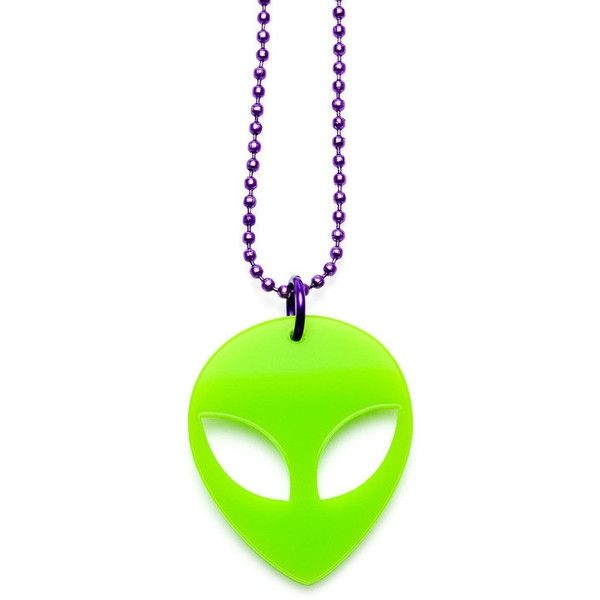 Alien Necklace ($28) ❤ liked on Polyvore featuring jewelry, necklaces, ball chain necklace, lucite jewelry, lucite necklace, acrylic necklace and neon green necklace