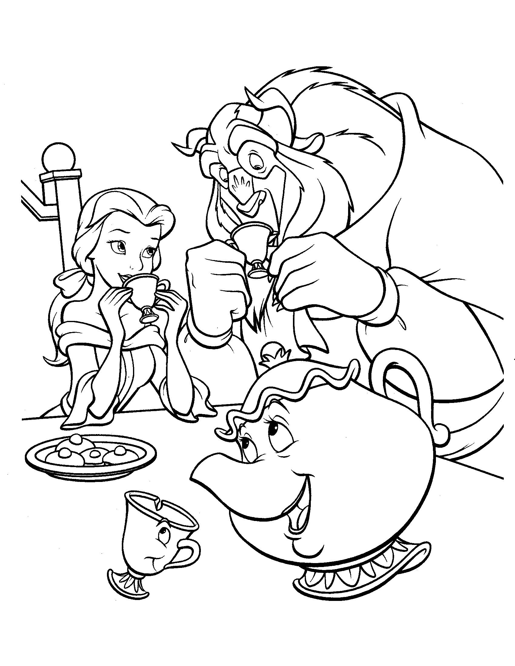 75 Free Beauty And The Beast Coloring Pages Free