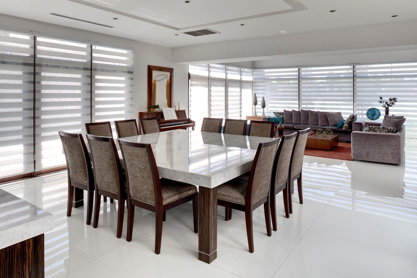 White marble meeting table combined with - Large Square Dining Table Seats
