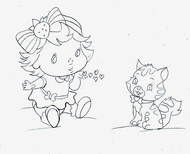 desenho da moranguinho baby com o gato pudim para pintar | Coloring ...