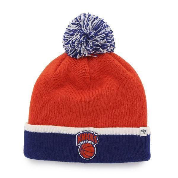 e72e1200 New York Knicks 47 Brand Orange Blue Baraka Retro 1964 Poofball Beanie Hat  Cap