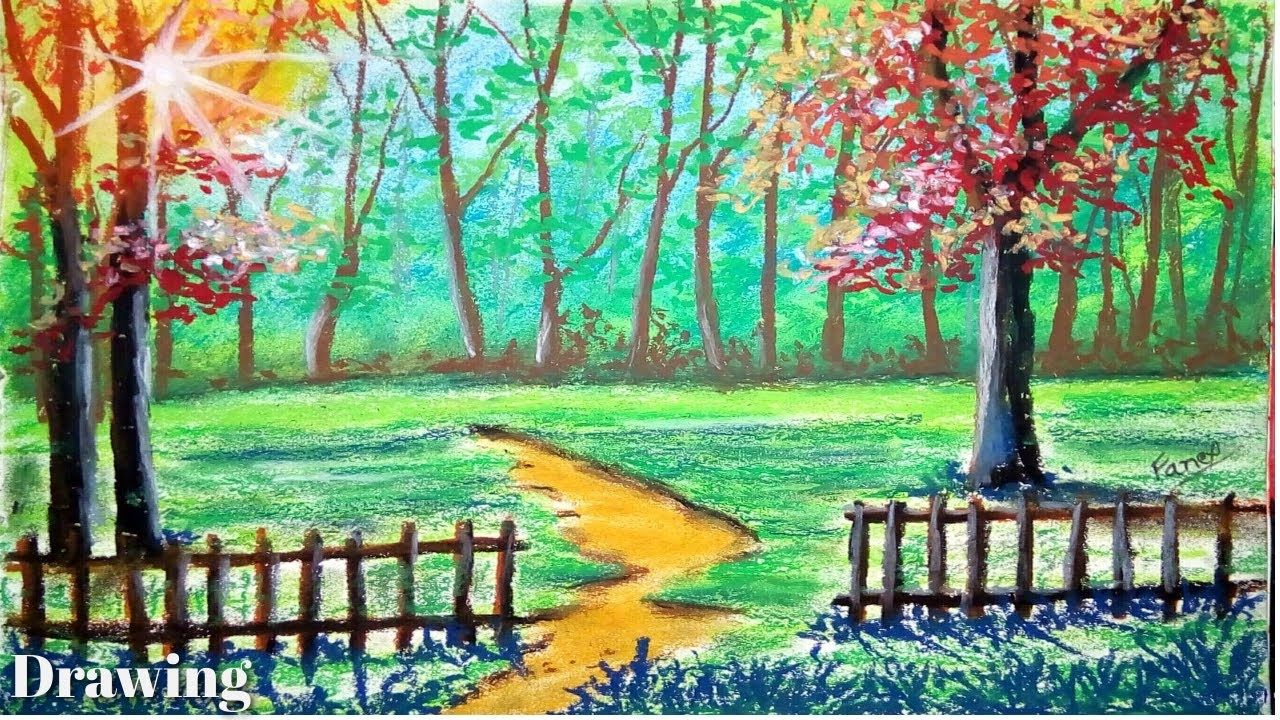 Pastel Tutorial How To Draw Morning Sunshine Scenery Drawing For Beginn In 2020 Oil Pastel Landscape Landscape Painting Tutorial Oil Pastel Drawings