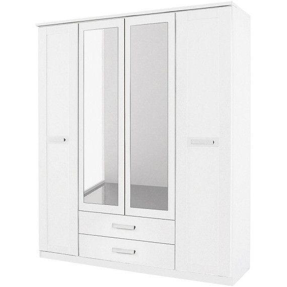 Großer weißer Kleiderschrank Breite 181 cm Mit dekorativen