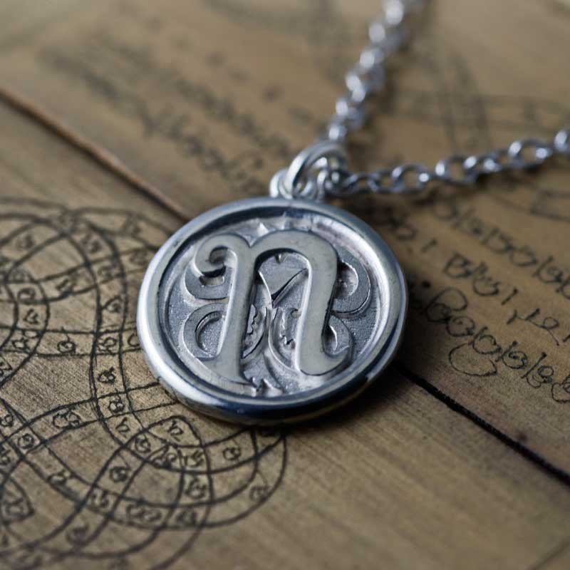 Sterling Silver Chain and Monogram Pendant CC
